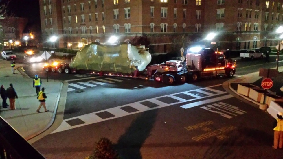 Chiller 9 being delivered to campus